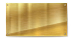 Shiny Brushed Metal Gold, Yellow Plate Banners On White Background Royalty Free Stock Photos