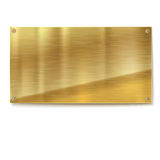 Shiny brushed metal gold, yellow plate banners on white background Stock Photography