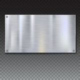 Shiny brushed metal plate banners on white background Stock Photo