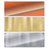 Shiny brushed metal plate banners on white background Stock Photos