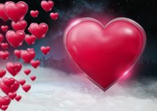 Shiny bubbly Valentines hearts with city misty background Stock Images