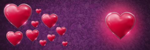 Shiny bubbly Valentines hearts with leaves purple background. Digital composite of Shiny bubbly Valentines hearts with leaves purple background stock illustration