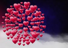 Shiny bubbly Valentines hearts with purple misty background Stock Images