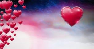 Shiny bubbly Valentines hearts with purple space universe misty background. Digital composite of Shiny bubbly Valentines hearts with purple space universe misty Stock Illustration