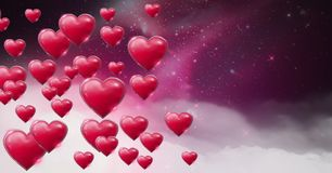 Shiny bubbly Valentines hearts with purple space universe misty background Royalty Free Stock Photo
