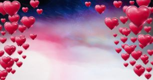 Shiny bubbly Valentines hearts with purple space universe misty background Royalty Free Stock Images