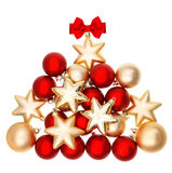 Shiny bubles shaped christmas tree. Red and golden balls Royalty Free Stock Images