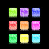 Shiny button icon set Royalty Free Stock Image