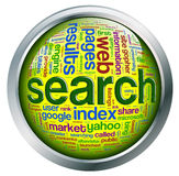 Shiny Button Of Search Engine Wordcloud Stock Photography