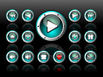 Shiny button set for musical theme. On a dark background Royalty Free Stock Image