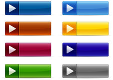 Shiny buttons. Shiny interface button collection in various colors Stock Image