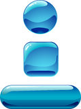 Shiny buttons. 3 stylish Web shiny buttons. Vector illustration Royalty Free Stock Photo