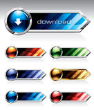 Shiny Buttons. Set of reflective web buttons in six colours Royalty Free Stock Image