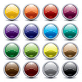 Shiny buttons in different colours. Colorful, bright, buttons, gray rim, on a white background royalty free illustration