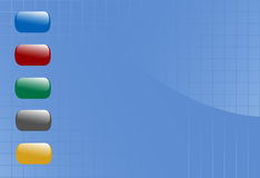 Shiny Buttons Float on Blue Grid Background Stock Photography
