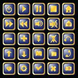 Shiny buttons in gold frame Royalty Free Stock Photos