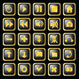 Shiny buttons in gold frame Royalty Free Stock Photography