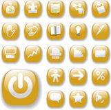 Shiny Buttons Icons Business Website Set Gold. Shiny Gold Control Button Icons, internet website navigation symbols: money bag, puzzle piece, megaphone, people Royalty Free Stock Photos