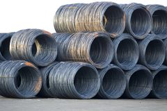 Shiny Cable Wire Rolls Stock Image