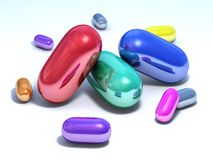 Shiny capsules on a white floor. It's a conceptual picture, some multicolored shiny capsules on a white floor vector illustration