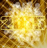 2015 shiny card. Happy new year 2015 card with bokeh yellow background Stock Images