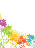 Shiny celebration background with stars. Vector illustration of a rainbow stars filled background with lined art Royalty Free Stock Image