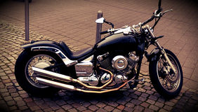 Shiny chopper motorcycle outdoors Stock Photo