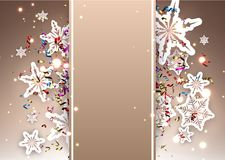 Shiny Christmas background with snowflakes. Shiny Christmas background with snowflakes and colorful serpentine. Vector illustration Stock Photo