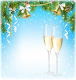 Shiny Christmas Background with Sparkling Wine Champagne Bells a Royalty Free Stock Images