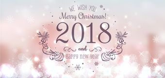 Free Shiny Christmas Ball For Merry Christmas 2018 And New Year On Beautiful Background With Light, Stars, Snowflakes. Stock Photos - 102759513