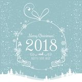Shiny Christmas ball for Merry Christmas 2018 and New Year on beautiful background with light, stars, snowflakes. Holiday card. Vector eps illustration Royalty Free Stock Photo