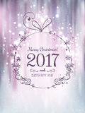 Shiny Christmas ball for Merry Christmas 2017 and New Year. On beautiful background with light, stars, snowflakes. Holiday card. Vector eps illustration Royalty Free Stock Photography