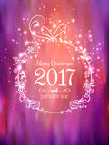 Shiny Christmas ball for Merry Christmas 2017 and New Year. On beautiful background with light, stars, snowflakes. Holiday card. Vector eps illustration Royalty Free Stock Image