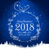 Shiny Christmas ball for Merry Christmas 2018 and New Year on blue background with light, stars, snowflakes. Holiday card. Vector eps illustration Royalty Free Stock Photography
