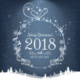 Shiny Christmas ball for Merry Christmas 2018 and New Year on blue background with light, stars, snowflakes. Holiday card. Vector eps illustration Stock Photos