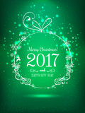 Shiny Christmas ball for Merry Christmas 2017 and New Year. On holiday background with light, stars, snowflakes. Vector eps illustration Stock Photography