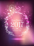 Shiny Christmas ball for Merry Christmas 2017 and New Year. On holiday background with light, stars, snowflakes. Vector eps illustration Stock Images