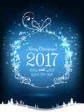 Shiny Christmas ball for Merry Christmas 2017 and New Year. On holiday background with winter landscape with snowflakes, light, stars. Vector eps illustration Royalty Free Stock Images