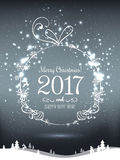 Shiny Christmas ball for Merry Christmas 2017 and New Year on holiday background with winter landscape with snowflakes. Light, stars. Vector eps illustration Stock Photo
