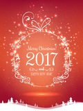 Shiny Christmas ball for Merry Christmas 2017 and New Year. On holiday background with winter landscape with snowflakes, light, stars. Vector eps illustration Stock Image