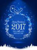 Shiny Christmas ball for Merry Christmas 2017 and New Year. On holiday background with winter landscape with snowflakes, light, stars. Vector eps illustration Stock Images