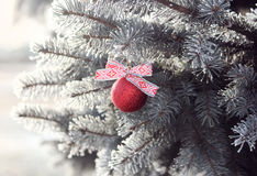 Shiny Christmas ball with a ribbon on a snow-covered tree Stock Photography