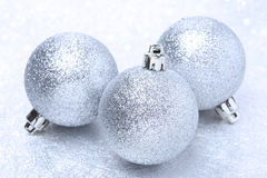 Shiny christmas balls and bokeh Stock Photos