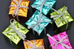 Shiny christmas boxes Stock Photo