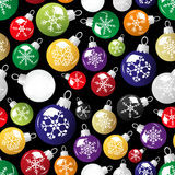 Shiny christmas decoration with snowflake seamless black pattern eps10 Royalty Free Stock Photo