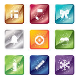 Shiny christmas icons Stock Images