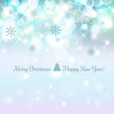 Shiny Christmas and New Year background with snowflakes, light, stars.. Vector Illustration. Xmas card Stock Photos