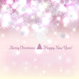 Shiny Christmas and New Year background with snowflakes, light, stars.. Vector Illustration. Xmas card Royalty Free Stock Photos