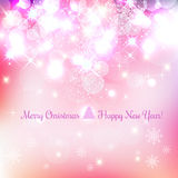 Shiny Christmas and New Year background with snowflakes, light, stars. Vector Illustration. Xmas card Stock Photo
