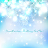 Shiny Christmas and New Year background with snowflakes, light, stars.. Vector Illustration. Xmas card Stock Image